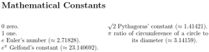 Image of list of mathematical constants.