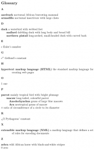 Image of glossary containing terms, mathematical constants and abbreviations.