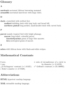 Image of main glossary, list of mathematical constants ordered by numeric value, and list of abbreviations.